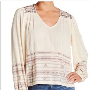 LUCKY BRAND boho embroidered long sleeve blouse